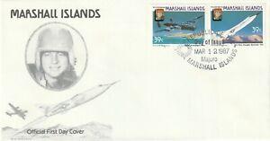 1987 Marshall Islands FDC cover Aircraft and Airman - Wm. B. Bridgeman