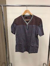 BDG men's y neck snap button XL (runs small) striped block gray pink black blue