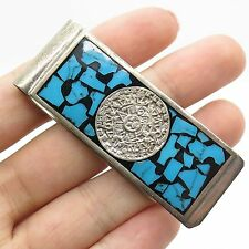Mexico Vtg 925 Sterling Silver Real Turquoise Gemstone Mayan Calendar Money Clip