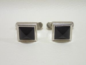CARTIER sterling silver cufflinks with onyx