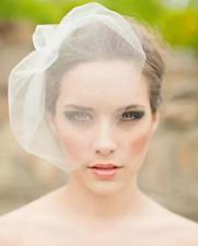White Double Layer Flower Fascinator Wedding Bridal Birdcage Face Veil Stock