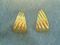 Vintage Signed Monet Gold Tone Ribbed Triangular Pierced Earrings
