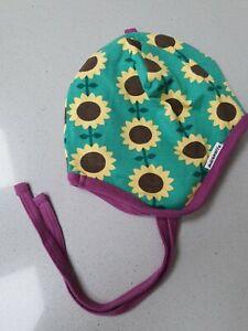Maxomorra Scandi Organic Bonnet Helmet Hat Sunflower Green Purple 48 50 9 24