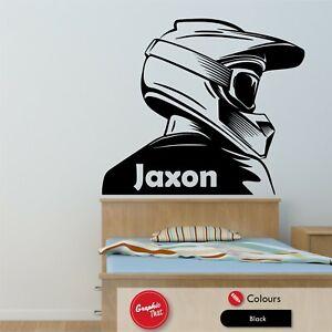 Motocross Wall Art Sticker Personalised Boys ATV Bedroom Motorsports Vinyl Decal