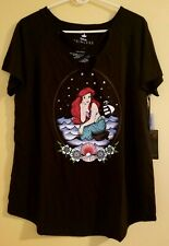 Torrid Disney The Little Mermaid Ariel Black Jersey Strappy Top Plus 1X 14/16