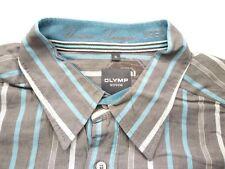 E8033 Olymp Novum Businesshemd Kombimanschette XL grau, türkis gestreift Neuwert