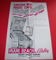 MIAMI BEACH Pinball FLYER Original NOS 1955 Bingo Game Promo Sales Artwork Bally
