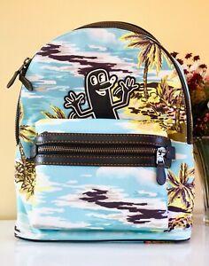 NWT $450 Coach X Keith Haring Academy Laptop Backpack, 28754 Ji/Hawaiian Blue