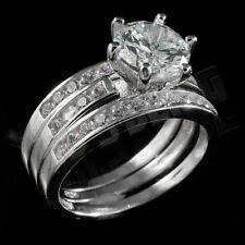 .925 Sterling Silver 3 Piece Band 18k White Gold Wedding CZ Women's Ring Set