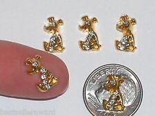 2pc Glass miniature dollhouse tiny little lucky crystal sitting Dog flat backs *