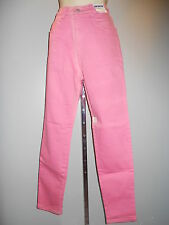 Nos Jordache Stretch Jeans 1980s High Rise Straight Leg Pink Mod Disco Vintage 8