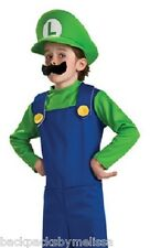 Super MARIO Official LUIGI Costume Boy's10/12 NeW Green Hat Mustache Nintendo