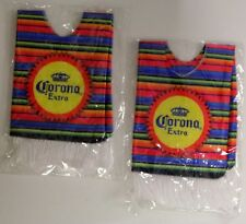Lot of 2 Corona Extra Slip On Drink Poncho Coozies - Multicolor Stripes -  NEW