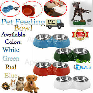 Double Dog Bowl Pet Feeding Station Stainless Steel Water Food Bowls Feeder New