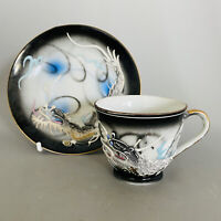 Vintage Japanese Moriage Dragon Ware Coffee Cup and Saucer. Black, Blue, Gold