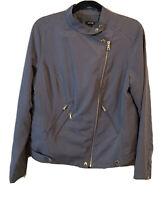 Apt 9 Women's Size L Gray Zipper Jacket Long Sleeve
