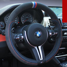 For BMW M4 DIY Hand-stitched Car Steering Wheel Cover Black High Quality Leather