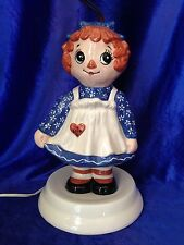 """Ceramic Raggedy Ann Lamp Vintage Bedside Table Child's Lamp 26"""" Tall No Shade"""