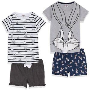Looney Tunes Bugs Bunny Girls Cotton Short Sleeve Pyjamas Pajamas Pjs Set 8-14y