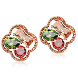 Mona Lisa Rainbow Mystical Natural Crystal Rose Gold Plated Flower Stud Earrings