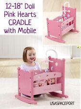 "Pink Hearts Baby Doll ROCKING CRADLE + Mobile Set 12""-18"" American Girl Kids Bed"