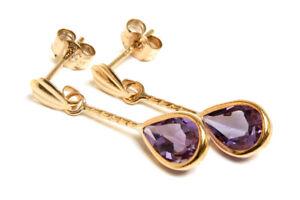 9ct Gold Amethyst Drop Earrings Short Teardrop Gift Boxed Made in UK