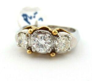 Fine Platinum & Yellow Gold 3 Three Stone Round Diamonds Engagement Ring 0.70ct