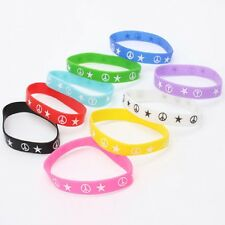 10 x Mixed Color Silicone Rubber Wrist Bands with STAR AND PEACE (LB-310288)