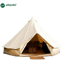 4M Beige Bell Tents Waterproof Cotton Canvas Family Camping Outdoors Beach Tents