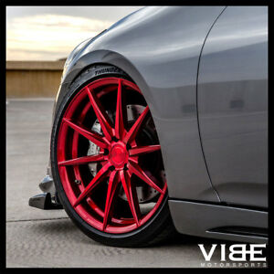 """20"""" ROHANA RFX1 RED FORGED CONCAVE WHEELS RIMS FITS INFINITI G35 COUPE"""