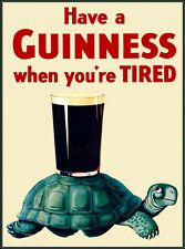 Guinness Beer Turtle Ireland Great Britain Vintage Travel Art Poster Print