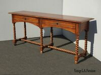 Vintage French Country Oak Barley Twist Sofa Console Table by Hekman w Brass