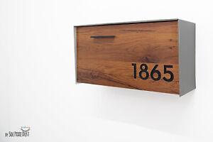 Modern Mailbox Aluminium Wood Red Oak Face and Metallic Gray Body - Type 3