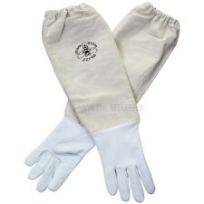 Children's Bee gloves - White leather. Age 9-11 years old