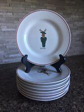 "LTD Commodities Reindeer Christmas 8.25"" Salad Plates Set of 8 Holiday Xmas"