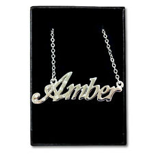 White Gold Plated Name Necklace - AMBER - Gift Idea For Her - Bridal Birthday