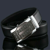 Fashion Mens Leather Ratchet Belt Metal Automatic Buckle Strap Waistband Waist