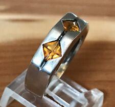 Beautiful Orange Citrine 3-Stone Sterling Silver 925 Ring Size 7.75