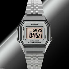 Casio LA-680WA-7D Ladies Black Digitral Watch Silver Steel Band Retro Vintage