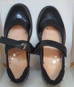 Girls F&F black school shoes hook and loop fastener UK size 13 used