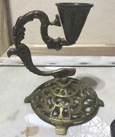 "Delicate Brass Art Nouveau Candlestick Taper Candle Stick Holder Ornate  6x3"""