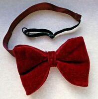 Bow Tie Vintage Velvet Mens Big Bowtie 1970s DANDY CRUISER Blood Red