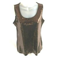 Notations Womens Sleeveless Top Small Brown Embellished Sequins Pullover