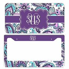 MONOGRAMMED LICENSE PLATE & FRAME SET PURPLE BLUE PAISLEY
