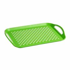 Anti-Slip Serving Tray, PP & Tpe, Green With White Dots