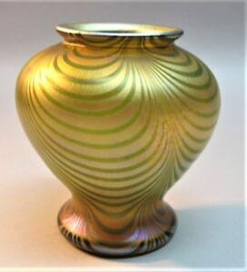 """Superb 4"""" QUEZAL ART NOUVEAU MINIATURE Art Glass Vase  """"Loops""""  c. 1910  antique"""