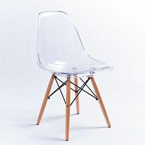 4PCS Modern Designer Eiffel Style Ghost Retro Chair Luxury Dining Lounge Grey