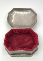 Beautiful Vintage Silver Plate Hinged Red Velvet Lined Jewelry Box