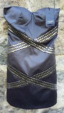 Vestido de palabra de honor con Tachas metálica en negro por ALTER de LONDON. Talla 8 UK/36 EUR