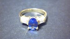 Gorgeous Oval Tanzanite, Belgian Diamond 18K Gold Boston Ring Size 9